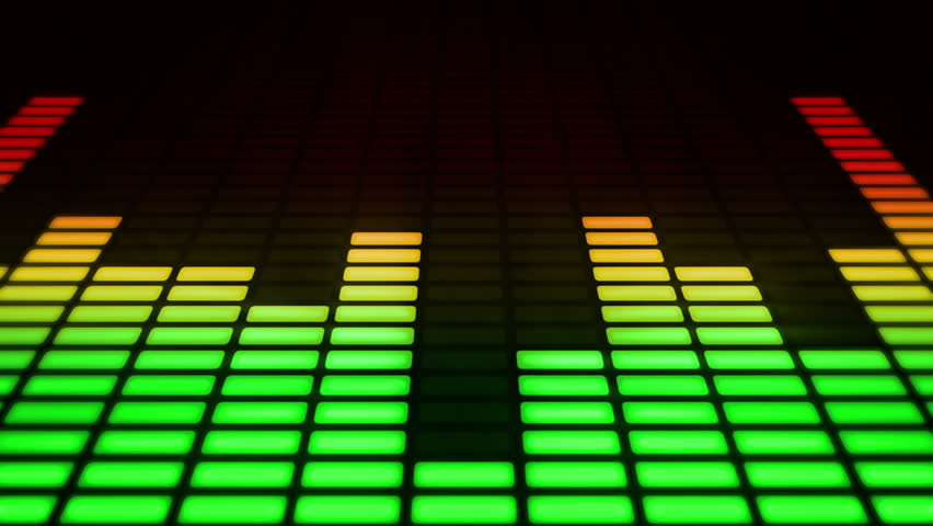 Audio equalizer moving bars. Music control levels. Loopable. Multicolored.  - HD stock video clip