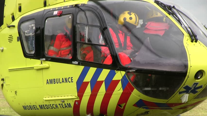 VOLKEL, THE NETHERLANDS - MAY 26, 2013:  Ambulance Helicopter at Volkel Airshow 2013