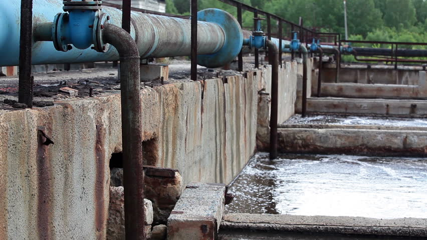 Water Fountain Due Oxygen Supply By Pipelines To The Sludge Volumes Stock Footage Video 4213267