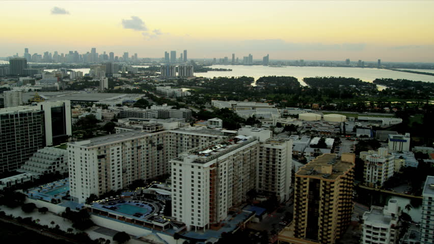 Aerial dusk view Miami South Beach Resort hotels and condominiums, Miami City, Biscayne Bay, Florida, USA | Shutterstock HD Video #4236029