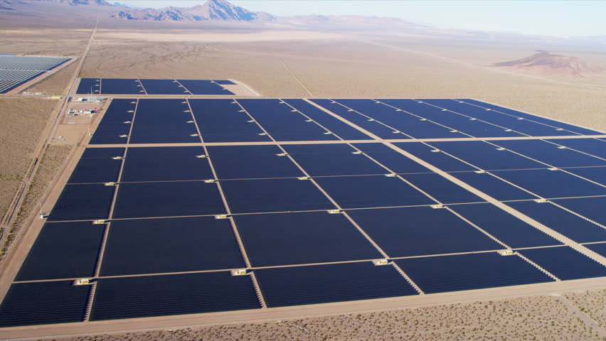 Aerial View Industrial Solar Panels Producing Energy In