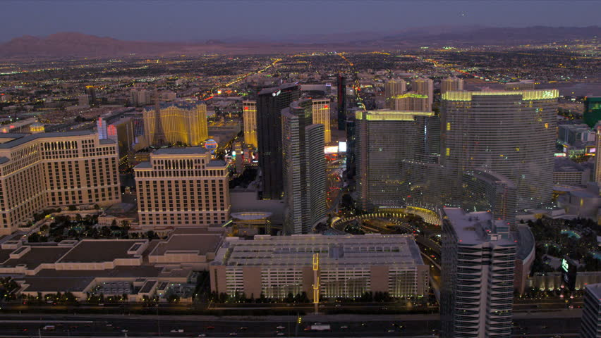 Las Vegas - January 2013: Aerial view of The Entertainment Capitol of the World, Nevada, USA, RED EPIC | Shutterstock HD Video #4243832