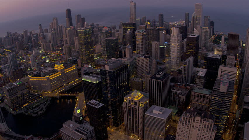 Chicago - August 18: Aerial illuminated city sunset view downtown skyscrapers Chicago August 18, 2012, shot on RED EPIC | Shutterstock HD Video #4247009