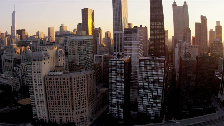 new york city landmark aerial view at sunset magic hour light long street road high rise real. Black Bedroom Furniture Sets. Home Design Ideas