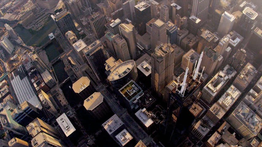 Aerial sunrise vertical view of Chicago city skyscrapers, Willis Tower downtown Chicago, Illinois, USA, shot on RED EPIC