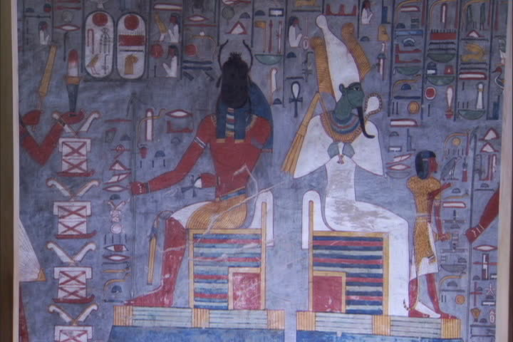 Colorful paintings on walls surround the tomb of Ramesses I in the Valley of the Kings, Egypt - SD stock footage clip