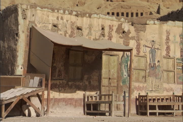 Tombs of the Nobles in the mountains above the old village of Gourna in the Valley of the Kings, Egypt. - SD stock footage clip