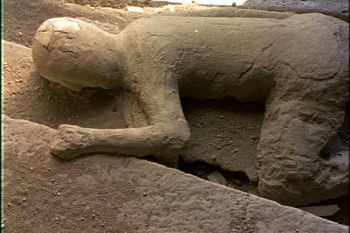 Plaster Cast Of Victim Of Mount Vesuvius Eruption In