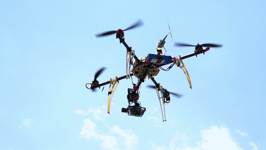 Quadcopter. Radio controlled hexacopter flying machine. Motion at a rate of 240 fps | Shutterstock HD Video #4309532