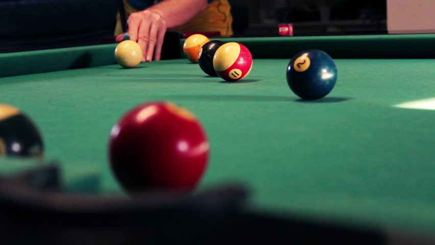 A beautiful picture of a billiard with professional player - HD stock footage clip