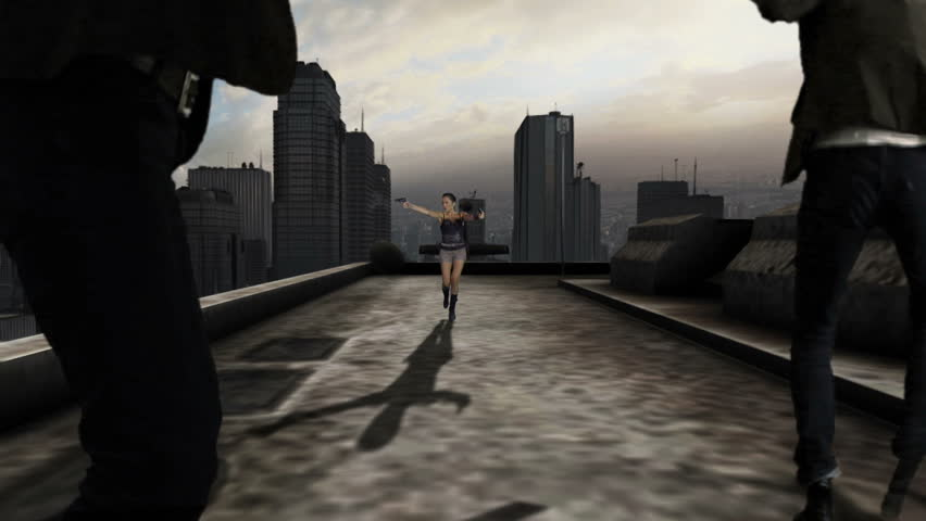 Action scene on NY rooftops | Shutterstock HD Video #4339583