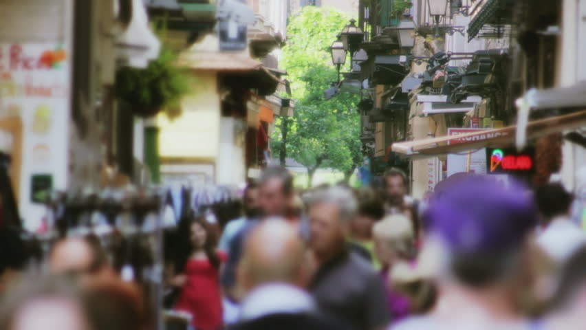 Anonymous Crowd in a  Narrow Shopping Street in Sorrento Italy - HD stock video clip
