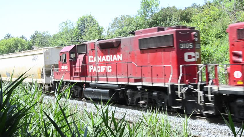 TORONTO - JULY 12: Canadian Pacific signed an exclusive contract on the transportation of potash. CP is a transcontinental railway in Canada and the U.S. As seen on July 12, 2013 in Toronto, Canada.