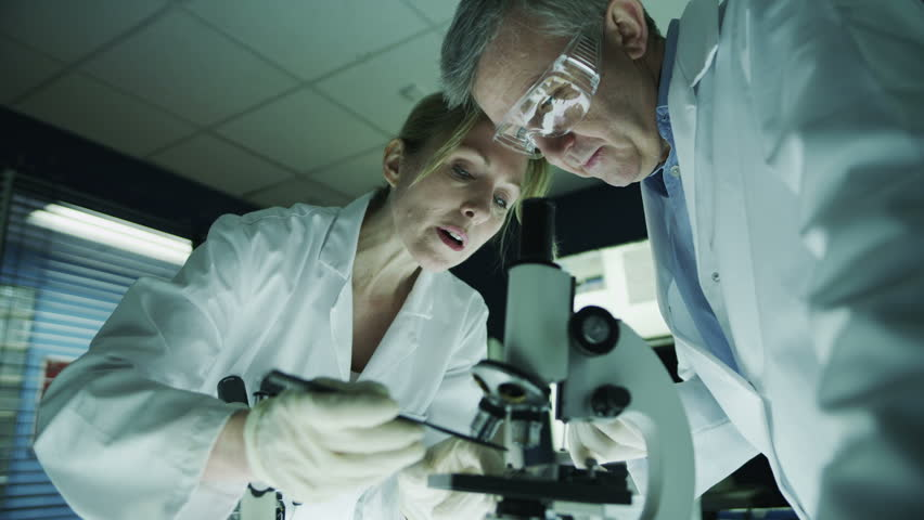 Mature male and female medical researchers working together in a dark laboratory, looking through microscopes and discussing their work.  | Shutterstock HD Video #4362110