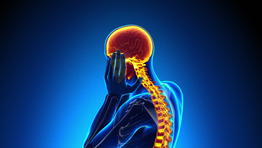 Head Pain / Headache - Male Hurt Backbone - Vertebrae Pain - HD stock video clip