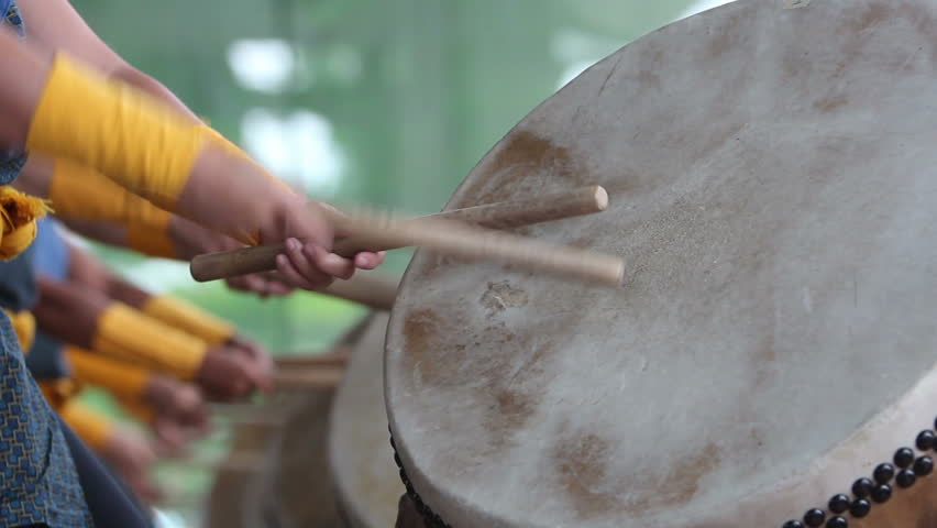 Detail clip of taiko drums being played. | Shutterstock HD Video #4372550