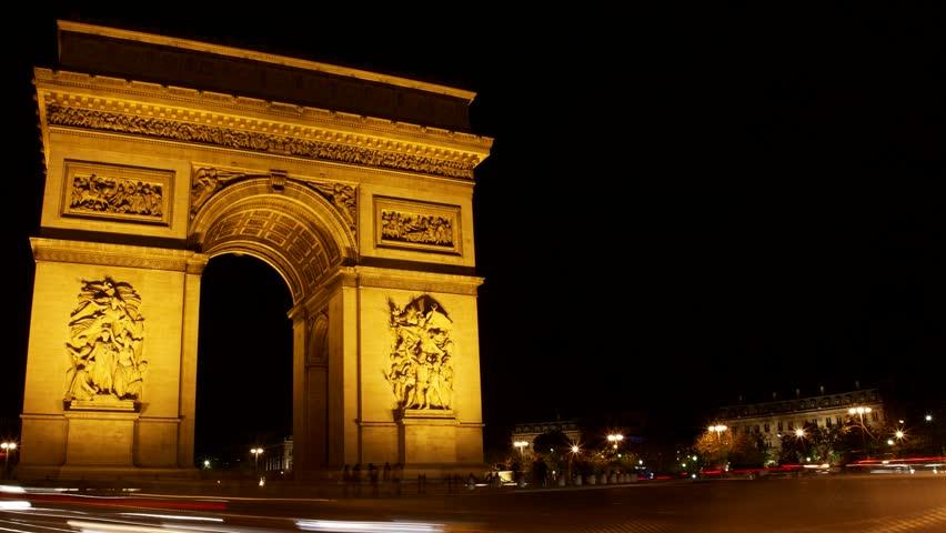 Arc de Triumphe, Etoile, one of the monuments of Paris, including Eiffel tower, Louvre, Montmartre, Montparnasse, Moulin Rouge, Versailles, Trocadero, Pompidou Center, Notre Dame, and metro.   Shutterstock HD Video #4394510