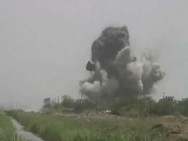 1990s - A 500 pound bomb in dropped in a rural area of Iraq.