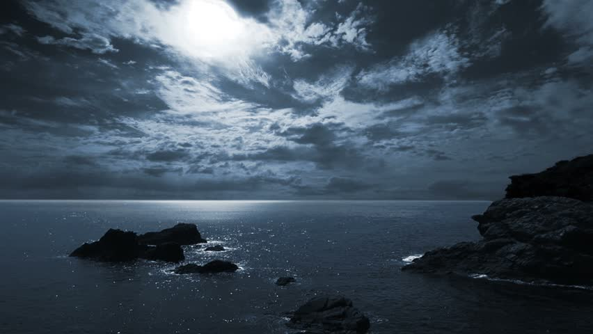Full moon night seascape/landscape. #4406867