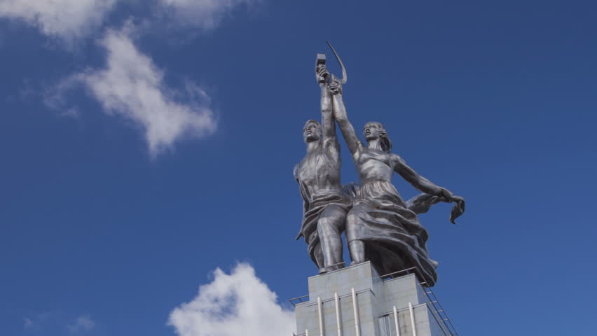 Worker and Kolkhoz Woman monument in Moscow, Russia. It was made from stainless steel by Vera Mukhina for the 1937 World's Fair in Paris - HD stock footage clip