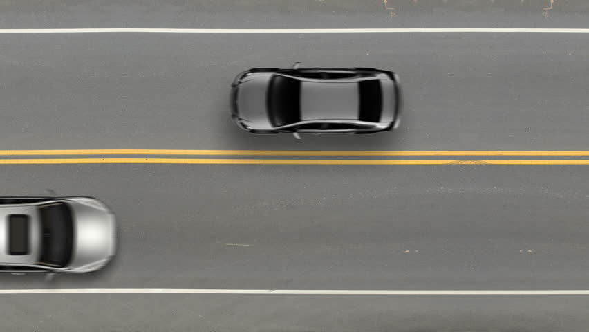 Cars Passing By Top View, Road Street Traffic Stock