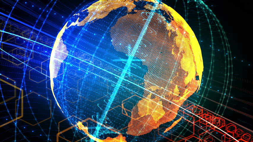 3d animation of rotating planet Earth with glowing network lines and digital elements. Global business concept.
