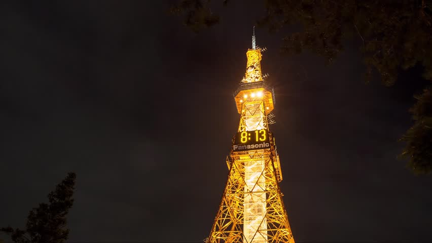 SAPPORO, JAPAN - AUGUST. 10 : Time lapse of illuminated Sapporo TV Tower at