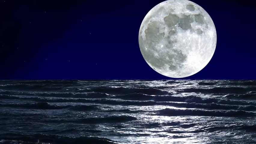 Sea And Full Moon. Night Sky With Flashing Stars ...