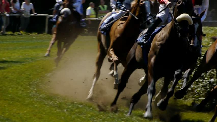 SAARBRCKEN - AUG 15, 2013: Horse racing in Germany. Part 2. Slow Motion.