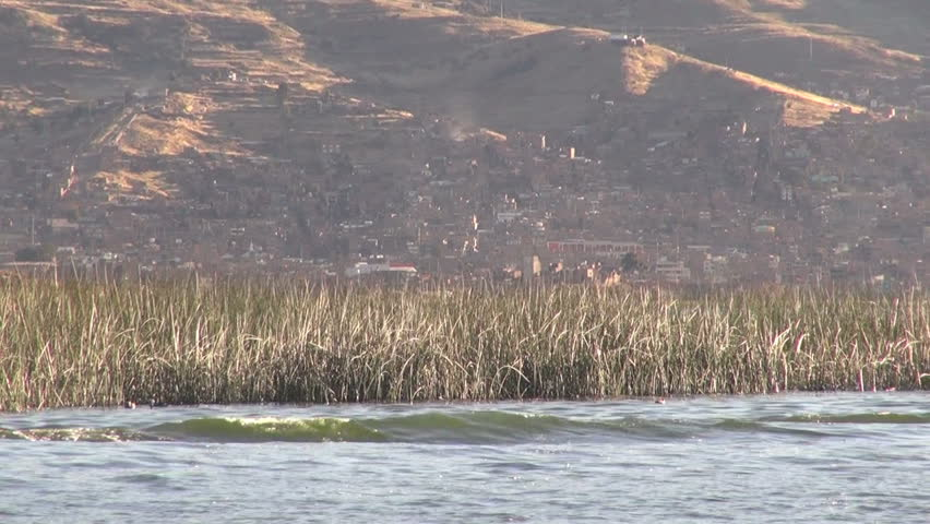 Peru Lake Titicaca reeds and towns - HD stock video clip