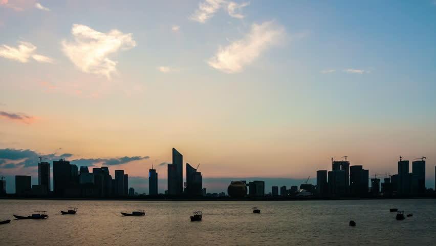Timelapse of Hangzhou Skyline with sunset