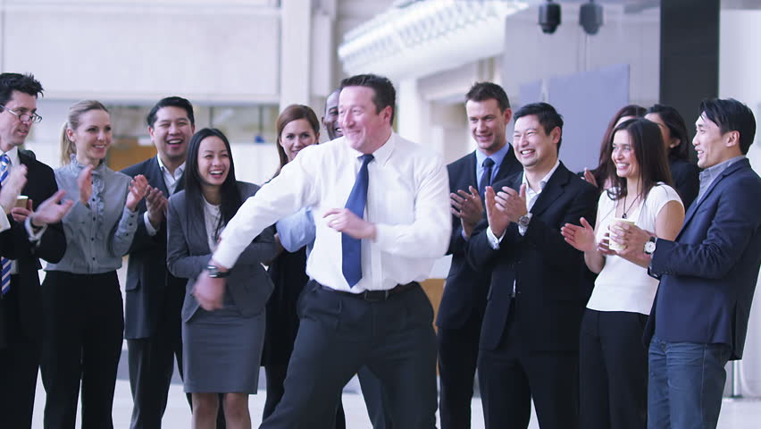 Funny dancing businessman. Excited group of business people clap their strange colleague. | Shutterstock HD Video #4479470