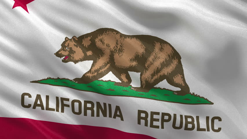 Seamless loop of the Californian state flag gently waving in the wind. Loop ready flag with high quality, glossy fabric material. - HD stock footage clip
