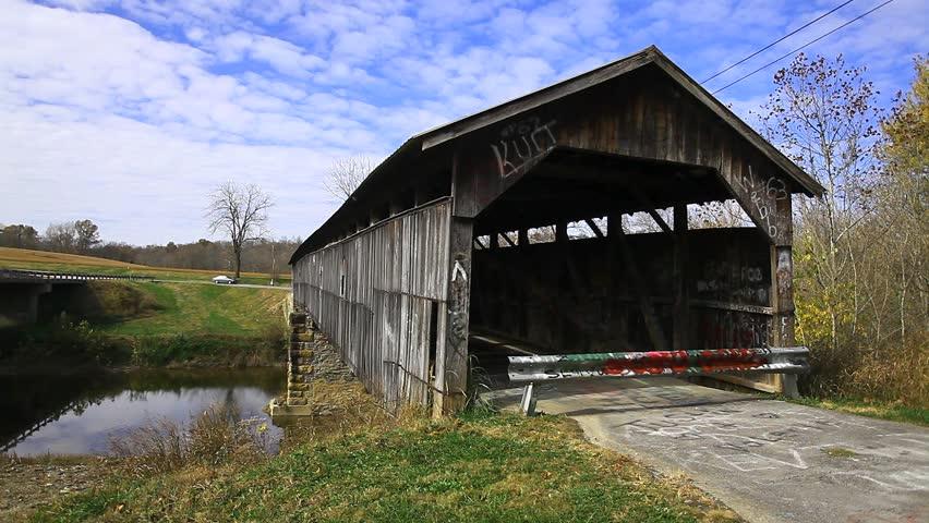 Beech Fork Covered Bridge, Kentucky - HD stock footage clip