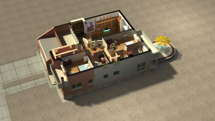 Construction of a two level house in animated building phases