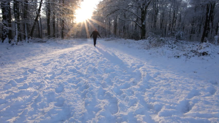 Man takes a walk through beautiful snowy forest scene with sun setting behind the trees. High quality HD video footage