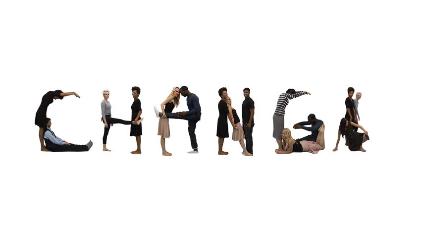 Flexible people - Unique horizontal point of view for this take on alphabet people forming the word 'CHANGE'. Spelling the word out of a combination of interesting moves and holds.
