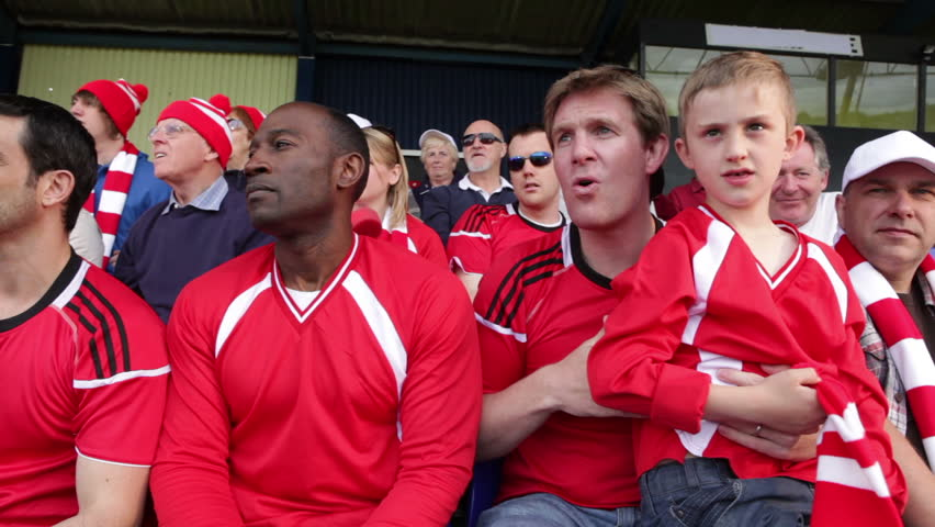 Enthusiastic crowd of spectators watching a sports game or football match and reacting  - HD stock footage clip
