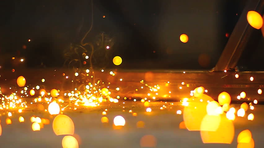Sparks and flames from working with metal constructions