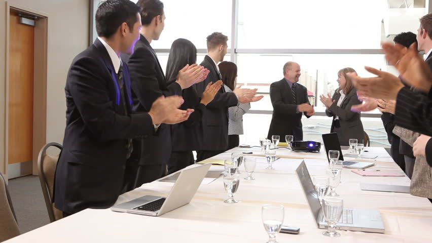 Group of businesspeople clapping - HD stock video clip