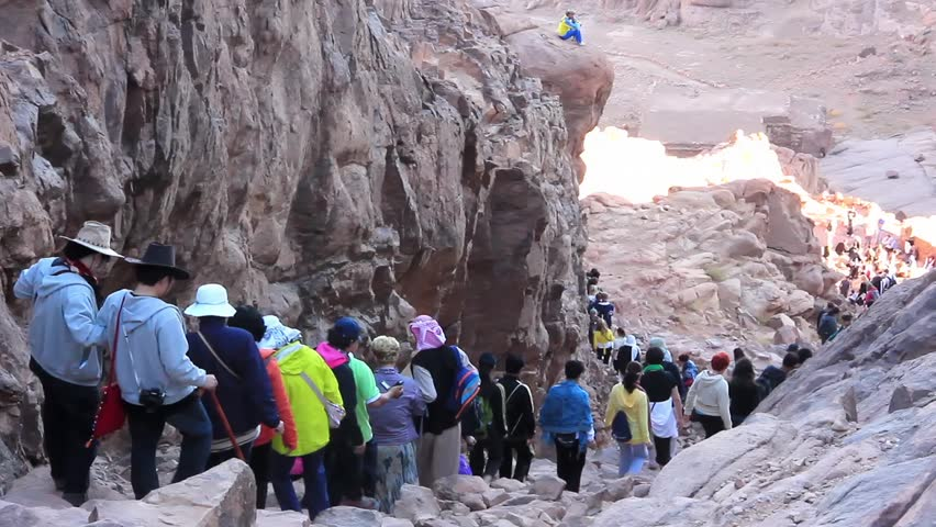EGYPT, SEPTEMBER 20, 2010: Pilgrims from around the world on Moses Mountain on Sinai Peninsula. Mount Sinai is a holy place, also known in Bible as Mount Horeb, Egypt, September 20, 2010
