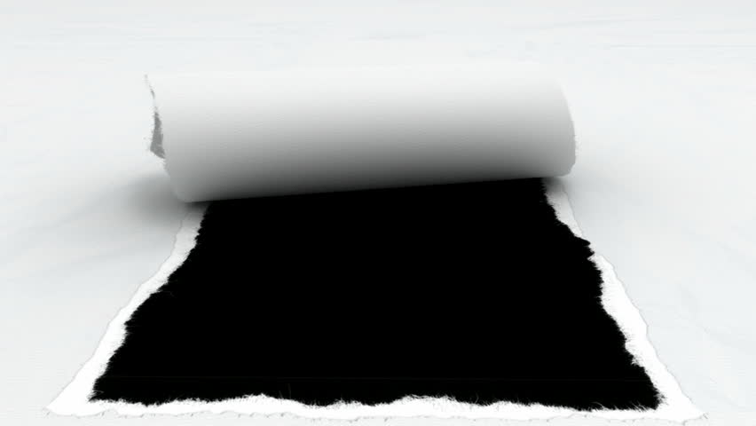 A perspective front view of a white textured piece of paper that has a rectangular section torn out  of the middle of it revealing a black background - HD stock video clip