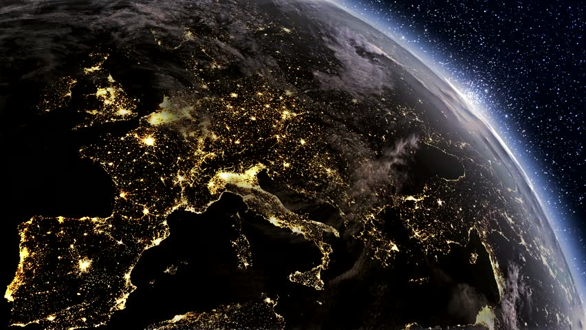 Highly detailed. 3d Render using satellite imagery (NASA).  Planet earth Europe zone with night time and sunrise | Shutterstock HD Video #4576922