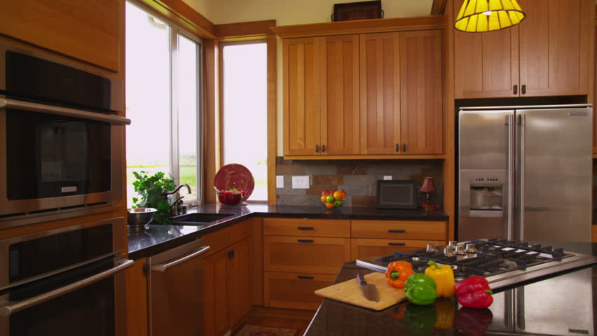 Home kitchen interior, dolly movement