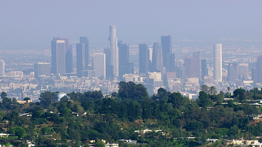 Aerial view of downtown Los Angeles from Hollywood Hills
