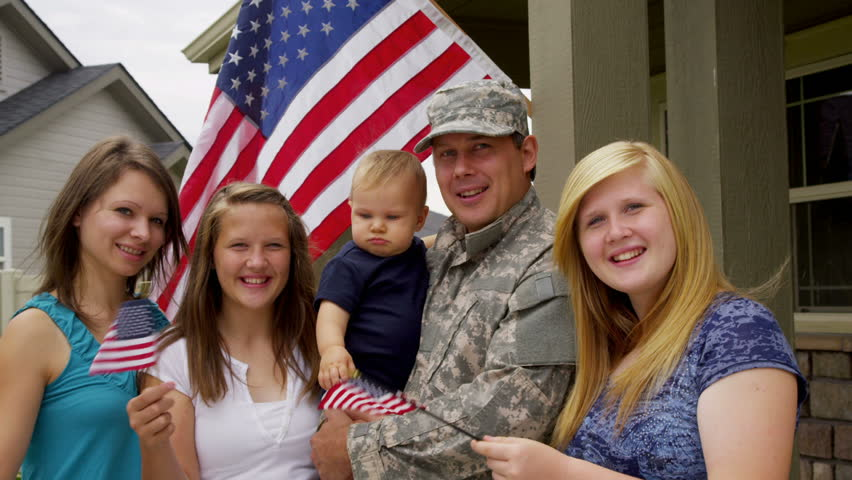 Portrait of American military family - HD stock video clip