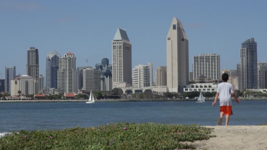 San Diego, California - May, 2013 - Medium Shot of the San Diego Skyline in the background and Coronado Beach in the foreground.