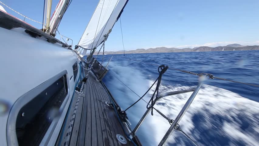 Yacht sailing on the sea (HD)