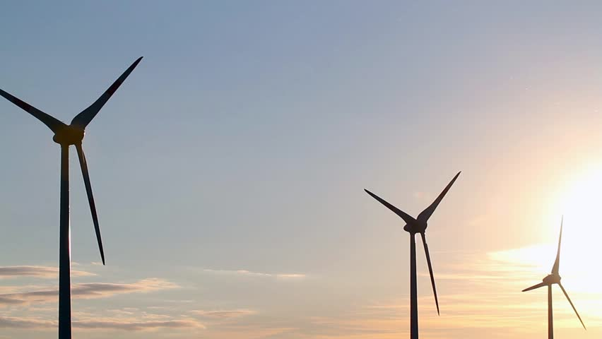 wind generators at sunset - HD stock footage clip