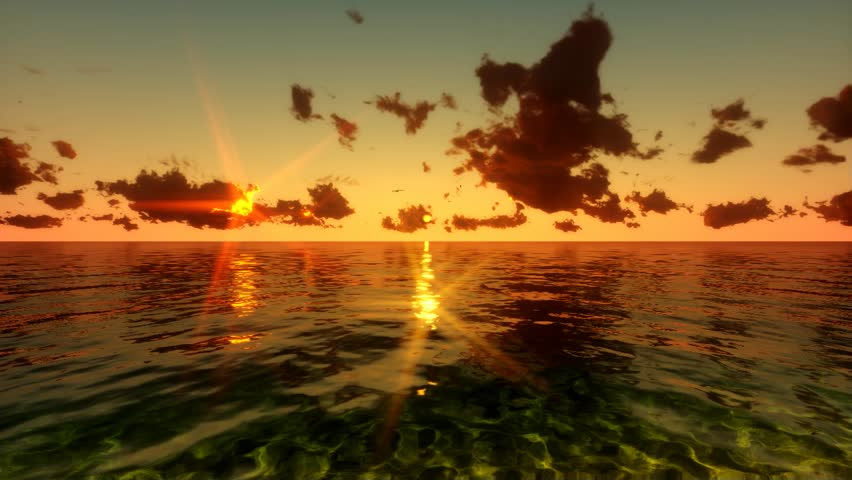 Flying over Sea, Time Lapse Sunset and Clouds #4613534